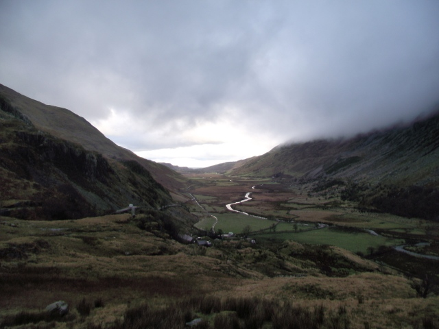 Looking north down the Nant Ffrancon valley at Ogwen
