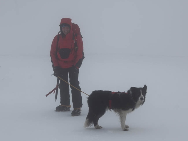 The author and 'Mist' on the summit – no views today then! (JB)