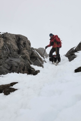 At the top of the snow gully  (JB)