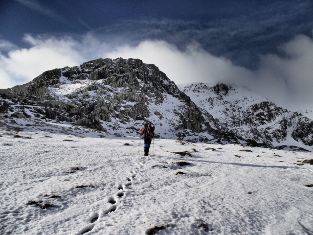 John heading up to the East Ridge of Pen yr Ole Wen
