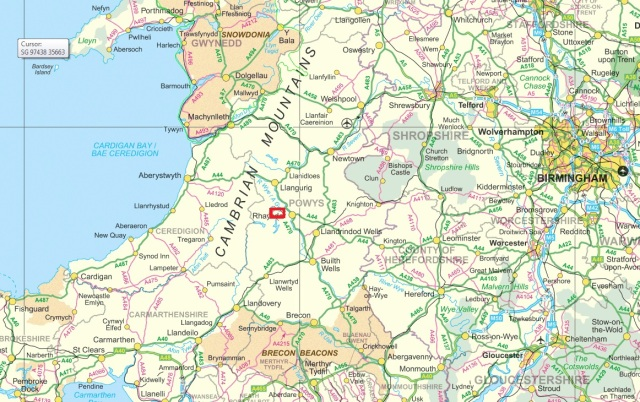 Mid-Wales.  The small red rectangle is map view 2