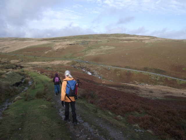 Heading down to the Mountain Road from Rhaeadr, with white water showing dead centre