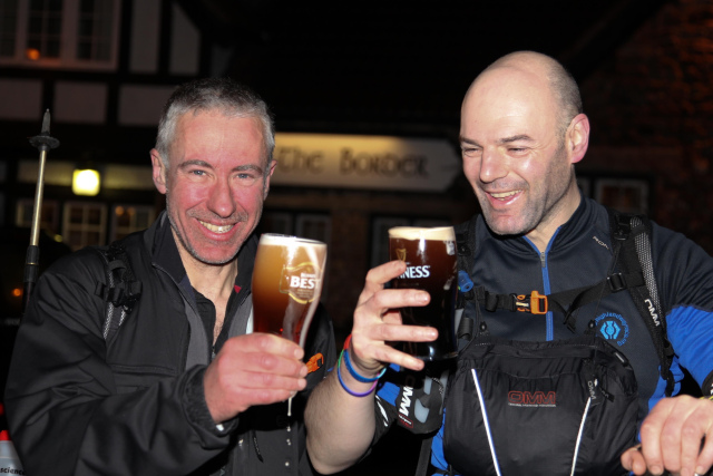 Steve and Gary celebrate the finish of The Spine 2012