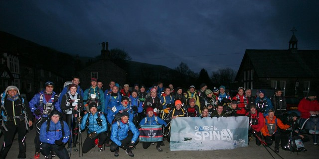 The competitors at the start line in Edale, about to start 'The Spine' 2013  (Spine)