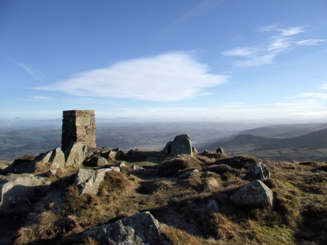 The summit of Tal y Fan looking down towards the Conwy estuary