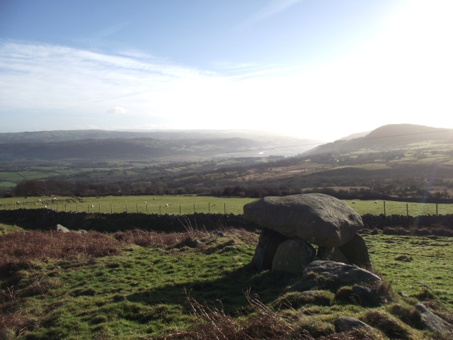 The Maen y Bardd dolmen, looking down towards the Afon (River) Conwy