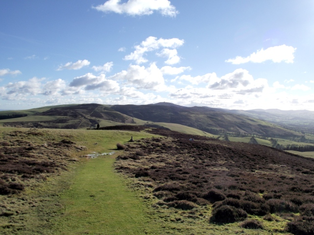 Looking south from Penycloddiau, with Moel Famau dead centre in the distance