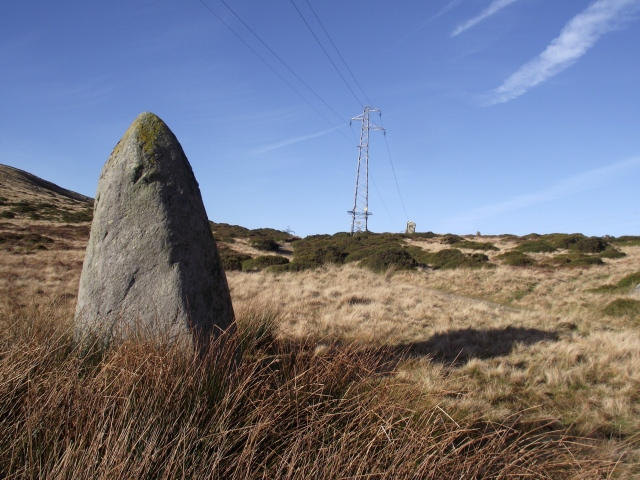 Another view of the stone with the 20th Century power lines above