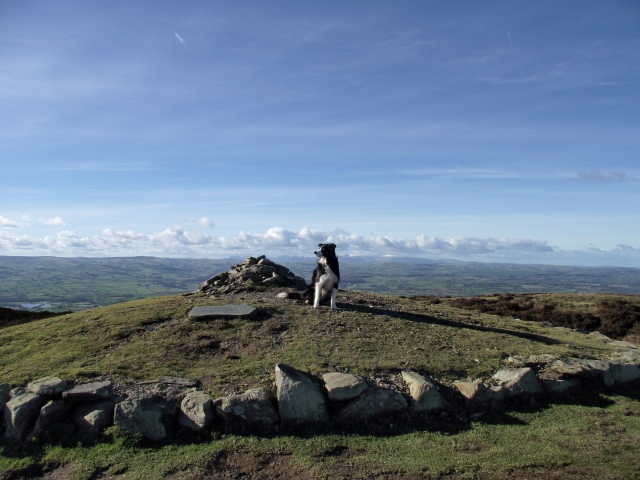 The reconstructed Bronze Age cairn at the summit