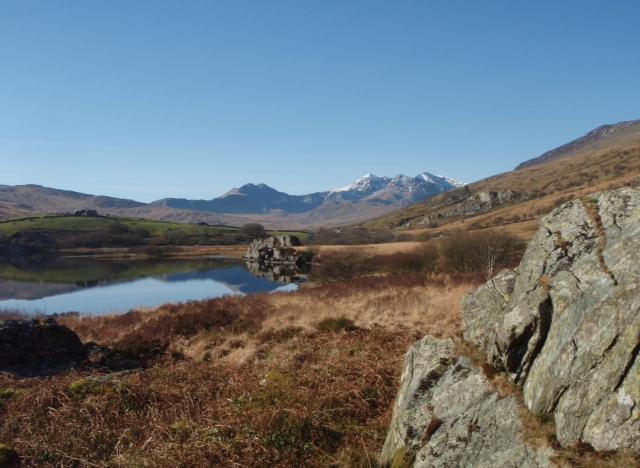 The classic view of the Snowdon Horseshoe from near Plas y Brenin, Capel Curig