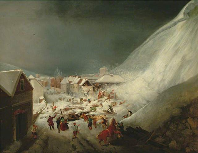 The aftermath of the Lewes avalanche (by unknown artist)