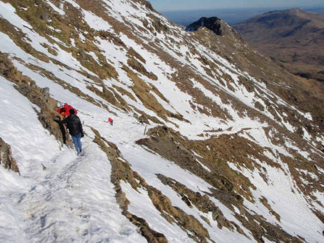 Ill equipped walkers slithering down the PYG Track