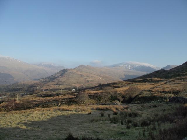 Looking southeast towards Garnedd Ugain and Yr Wyddfa (Snowdon)