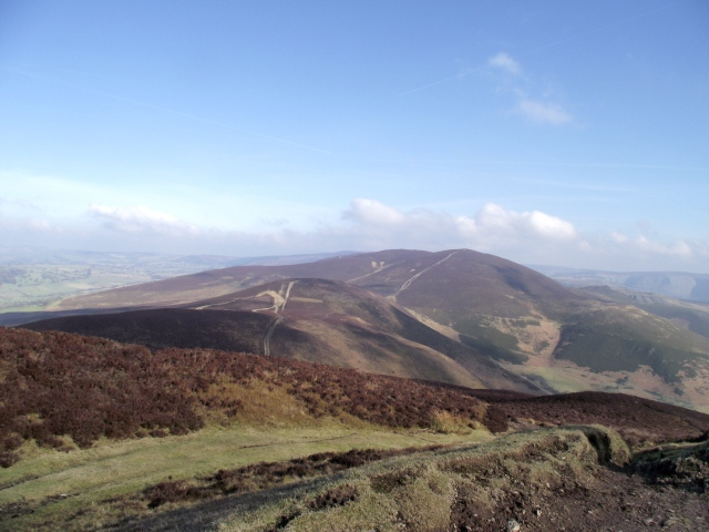 Moel y Gaer (centre and nearer) and Moel y Gamelin from Moel Morfydd (AKA Llantysilio Mountain)