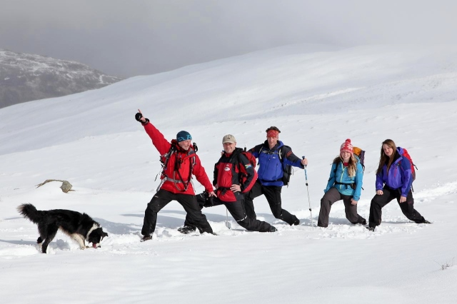 """Members of """"The Spine"""" support team find time to muck about in the snow"""