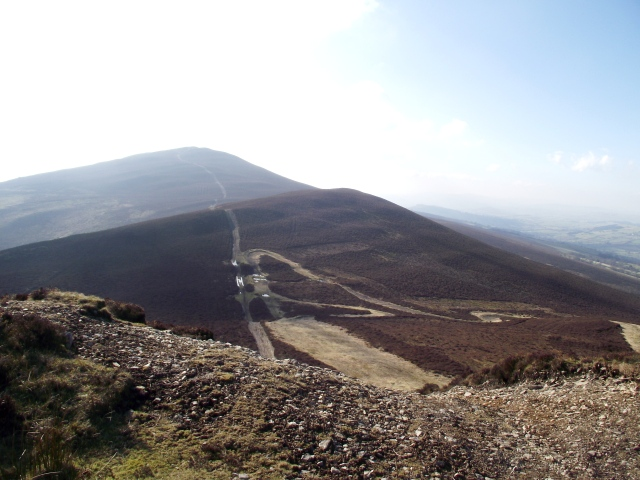 Looking back to Moel Morfydd in the distance, with an un-named top between