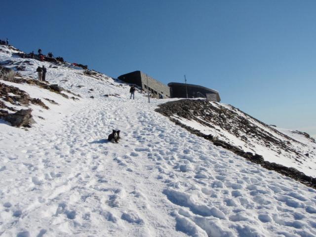 'Mist' lying on the railway line, just below the summit