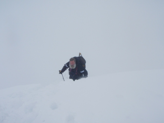 John Bamber (trip photographer) exits the ridge on to the summit plateau (PS)