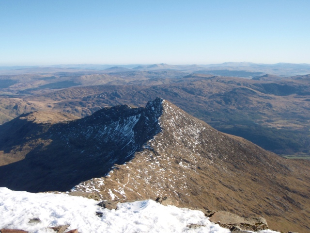 Looking down to Y Llewidd, the next peak on our  'Halfshoe'