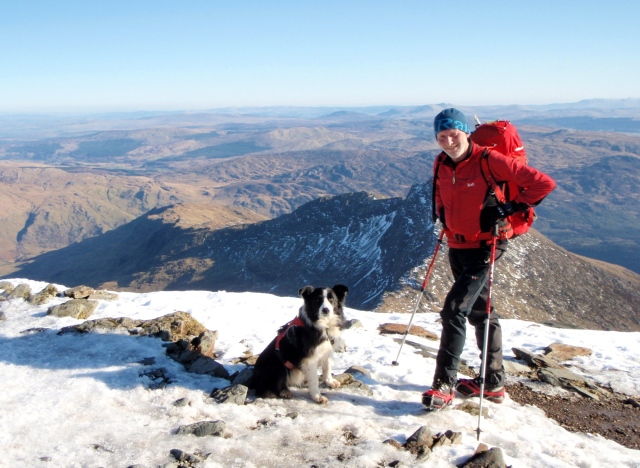 'One man and his dog' - the author and 'Mist' just below the summit