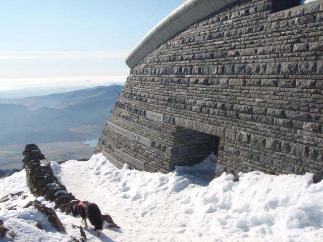 The entrance to the Hafod Eryri Visitor Centre at the summit ….