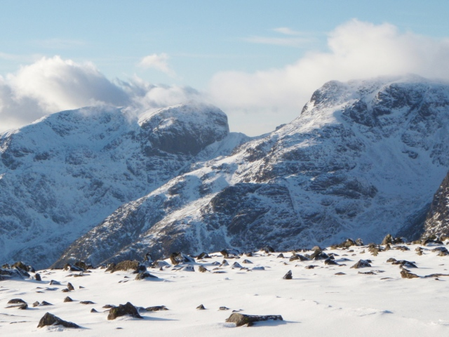 Scafell (left) and Scafell Pike in the Lake District
