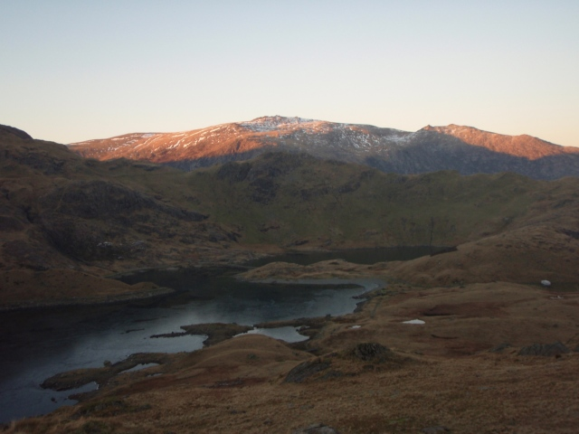 The lake of Llyn Llydaw with the hills of the Glyderau beyond