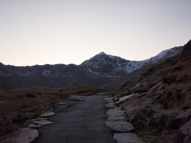 The end of a great day – Yr Wyddfa from the Miners Track as the light fails
