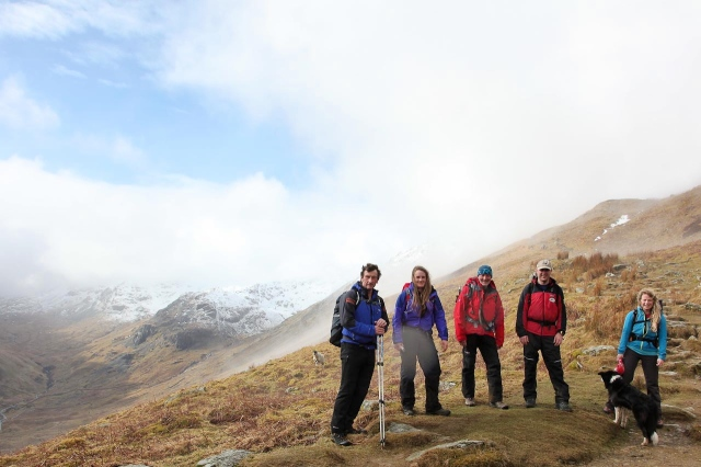 Spine support team at play – Joe, Olivia, the author, Stuart, Naomi and trainee search dog 'Mist'