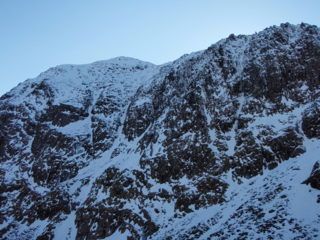Looking towards the summit of Yr Wyddfa, with Central Trinity Gully just left of centre