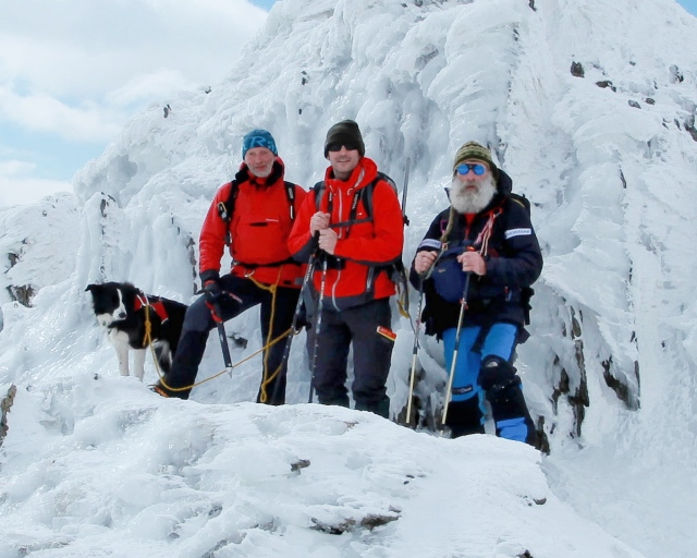 At the summit of Glyder Fawr – 'Mist', the author, Tom and John (JB)