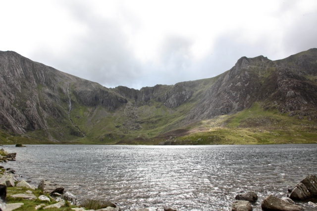 The classic view of Llyn Idwal looking towards the cliffs of the Devil's kitchen (Twll Du or 'Black Hole' in Welsh)  (JB)