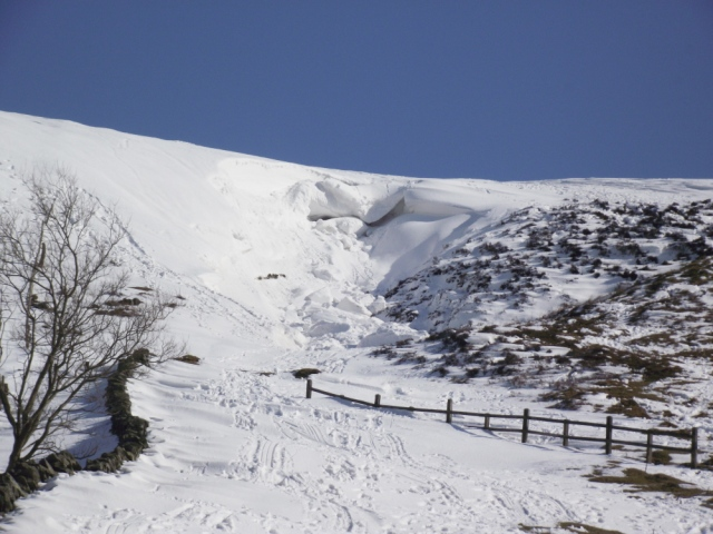 The Moel Llys y Coed avalanche, pictured later the same day