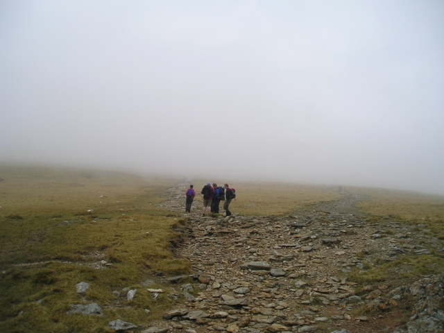 Group at the path junction on the southern flank of Y Garn in 2009