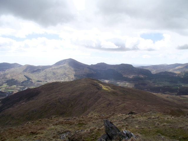 Part of the panorama (l to r) Moel Hebog, Moel yr Ogof and Moel Lefn
