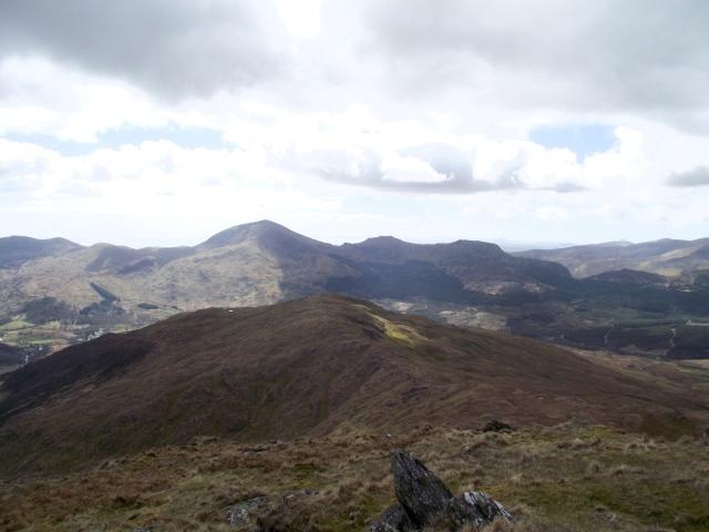 Part of the panorama (l to r) Moel Hebog, Moel yr Ogof and Moel Lefn