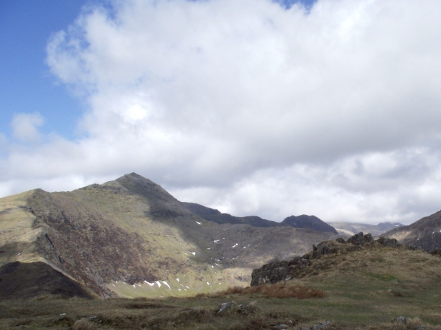 Yr Wyddfa (Snowdon) on the left with Crib Goch to the right