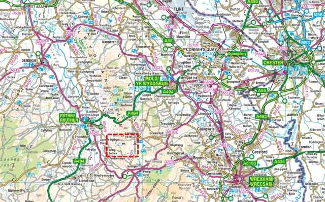 The Clwydian Hills of North East Wales (the Moel y Plas map above is the area included in the red box)