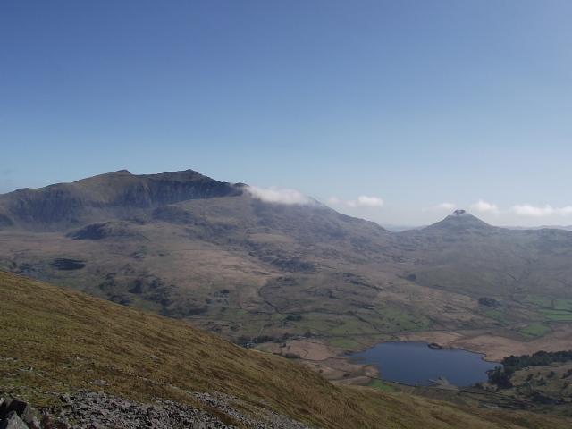 Yr Aran on the right, with Yr Wyddfa (Snowdon) higher on the left
