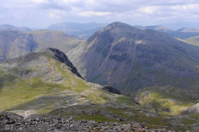 Looking down on Lingmell Col from the slopes of Scafell Pike  © Ian Taylor