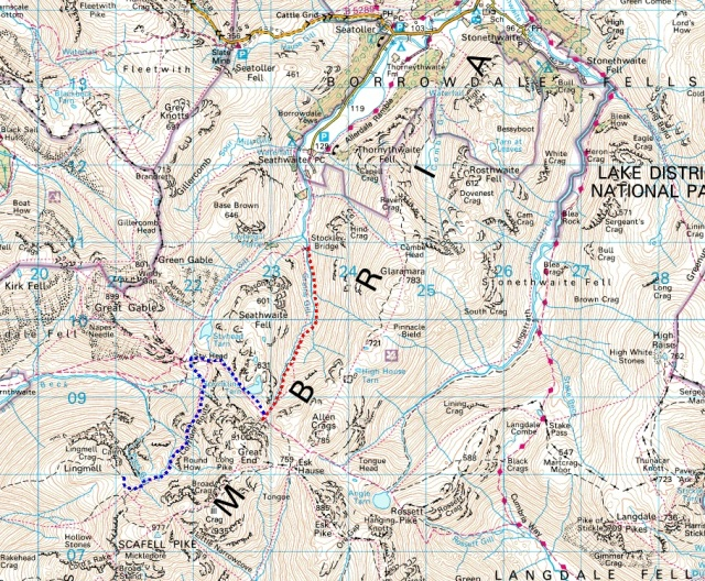 Map of the area searched by the Penrith MRT search dogs on the April 1985 callout.  (The search route is shown in red, and my subsequent wanderings from Great End to Lingmell Col in blue)