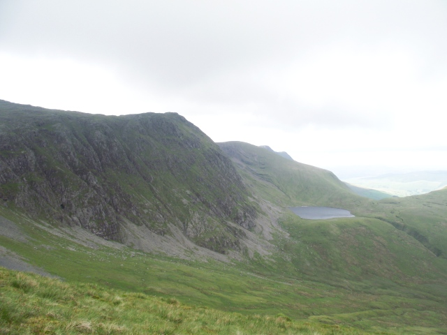 First views of the Aran Ridge, and the small lake of Craiglyn Dyfi