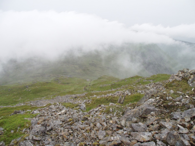 The view down our ascent route, just below the summit of Glasgwm