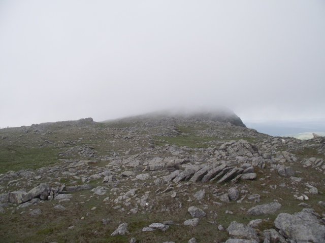 Looking towards the summit of Aran Fawddwy, with the mist coming down