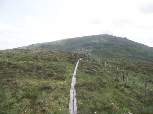 Wooden boardwalk across the worst of the bogs