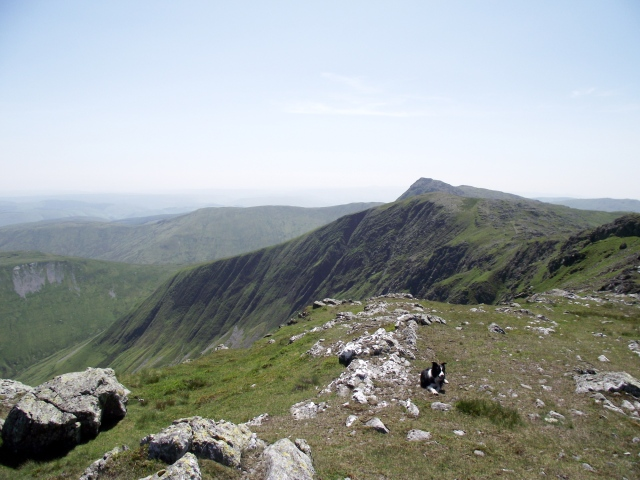 The view from Aran Benllyn towards Aran Fawddwy, with the un-named top between the two