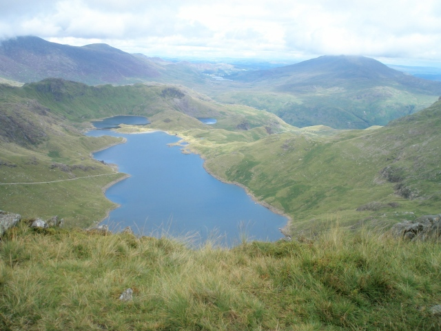 Clear at last - looking down to Llyn Llydaw (PS)