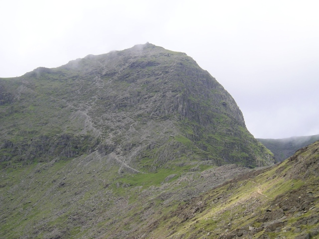Looking back to Yr Wyddfa, with the steep, loose section of the Watkin Path clearly visible