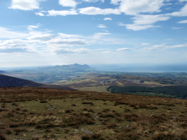 The view to the southwest –  the peaks of Yr Eifl on the coast