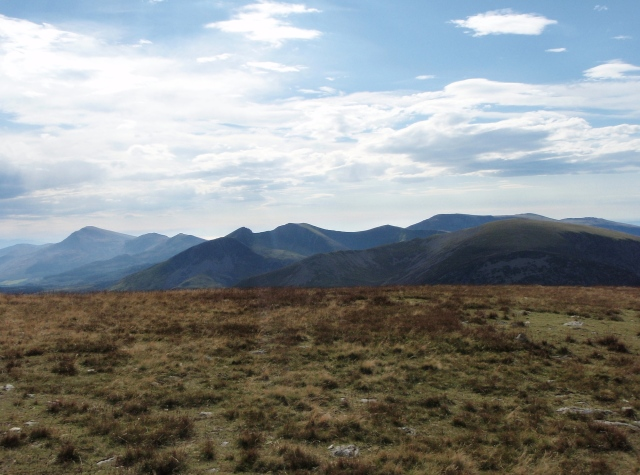 The view south – (L to R) The Moel Hebog Ridge, The Nantlle Ridge and Mynydd Mawr